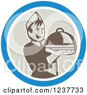 Clipart Of A Young Male Chef Holding Out A Cloche Platter In A Blue And Beige Circle Royalty Free Vector Illustration