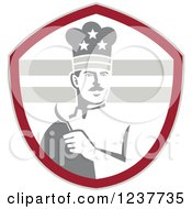 Clipart Of A Grayscale American Chef Holding A Spoon In A Red Shield Royalty Free Vector Illustration
