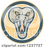 Clipart Of A Snapping Rattlesnake In A Circle Royalty Free Vector Illustration