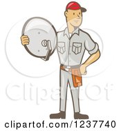 Clipart Of A Cartoon Satellite Tv Installer Man Royalty Free Vector Illustration