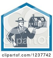 Clipart Of A Retro Male Real Estate Agent Holding A House In A Shield Royalty Free Vector Illustration