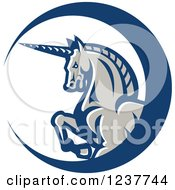 Clipart Of A Majestic Unicorn In A Crescent Circle Royalty Free Vector Illustration by patrimonio