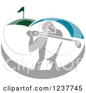 Clipart Of A Retro Golfer Swinging On A Course Royalty Free Vector Illustration