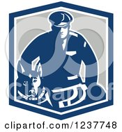 Clipart Of A Blue Guard Dog And Security Officer In A Shield Royalty Free Vector Illustration