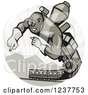 Clipart Of A Muscular Super Hero Train Flying Over Mountains Royalty Free Vector Illustration by patrimonio