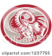 Clipart Of A Charging Ram In A Tan And Red Oval Royalty Free Vector Illustration by patrimonio