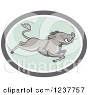 Clipart Of A Gray Razorback Boar Leaping In A Gray And Pastel Green Oval Royalty Free Vector Illustration by patrimonio