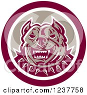 Clipart Of A Retro Vicious Pitbull Security Dog In A Circle Royalty Free Vector Illustration