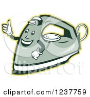 Clipart Of A Happy Retro Laundry Iron Giving A Thumb Up Royalty Free Vector Illustration
