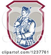 Clipart Of A Retro Scotsman Playing A Bagpipe In A Shield Royalty Free Vector Illustration by patrimonio