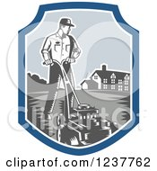 Clipart Of A Retro Woodcut Landscaper Mowing A Lawn Near A House Royalty Free Vector Illustration