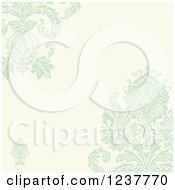 Pastel Green Damask And Beige Invite Background