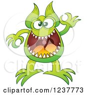 Clipart Of A Green Alien Or Monster Gesturing Ok Royalty Free Vector Illustration