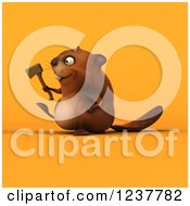 Clipart Of A 3d Happy Beaver Carrying An Axe Over Orange Royalty Free Illustration