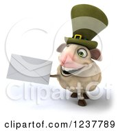 Clipart Of A 3d CGI Happy Irish Sheep Holding An Envelope Royalty Free Illustration