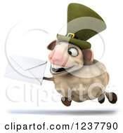 Clipart Of A 3d CGI Happy Irish Sheep Running With An Envelope Royalty Free Illustration