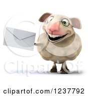 Clipart Of A 3d CGI Happy Sheep Holding An Envelope On White Royalty Free Illustration