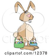 Tired Easter Bunny Carrying Eggs In Baskets Clipart Picture