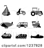 Clipart Of Black And White Transportation Icons Royalty Free Vector Illustration by Seamartini Graphics