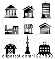 Clipart Of Black And White Building Icons Royalty Free Vector Illustration