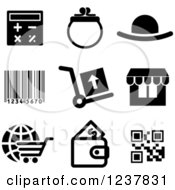 Clipart Of Black And White Retail Icons Royalty Free Vector Illustration by Vector Tradition SM