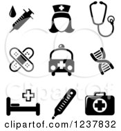 Clipart Of Black And White Medical Icons Royalty Free Vector Illustration by Vector Tradition SM