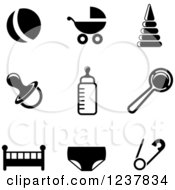 Clipart Of Black And White Baby Icons Royalty Free Vector Illustration