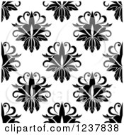Clipart Of A Seamless Black And White Damask Background Pattern 17 Royalty Free Vector Illustration