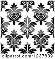 Clipart Of A Seamless Black And White Damask Background Pattern 16 Royalty Free Vector Illustration