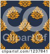 Clipart Of A Seamless Orange And Blue Damask Background Pattern Royalty Free Vector Illustration