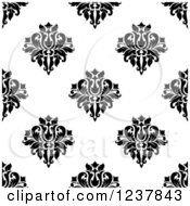 Clipart Of A Seamless Black And White Damask Background Pattern 18 Royalty Free Vector Illustration