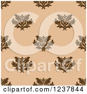 Clipart Of A Seamless Brown And Tan Damask Background Pattern 4 Royalty Free Vector Illustration
