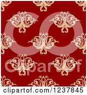 Clipart Of A Seamless Red And Tan Damask Background Pattern 4 Royalty Free Vector Illustration