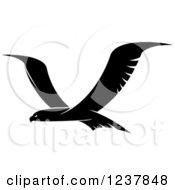 Clipart Of A Black And White Eagle In Flight 2 Royalty Free Vector Illustration