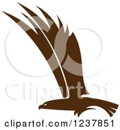 Clipart Of A Brown Eagle In Flight Royalty Free Vector Illustration