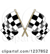 Clipart Of Crossed Checkered Racing Flags 4 Royalty Free Vector Illustration