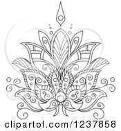 Clipart Of A Black And White Henna Lotus Flower 7 Royalty Free Vector Illustration