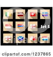 Clipart Of National Flag Icons On Black 5 Royalty Free Vector Illustration by Vector Tradition SM