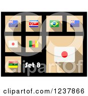 Clipart Of National Flag Icons On Black 8 Royalty Free Vector Illustration