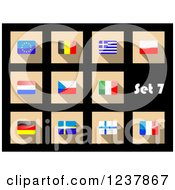 Clipart Of National Flag Icons On Black 7 Royalty Free Vector Illustration by Vector Tradition SM