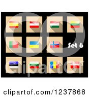 Clipart Of National Flag Icons On Black 6 Royalty Free Vector Illustration