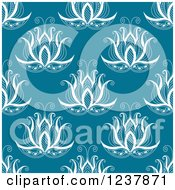 Clipart Of A Seamless Background Pattern Of Henna Flowers On Teal Royalty Free Vector Illustration