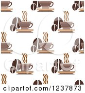 Clipart Of A Seamless Background Pattern Of Coffee And Beans Royalty Free Vector Illustration
