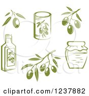 Clipart Of Green Olive Branches Jars And Cans Royalty Free Vector Illustration