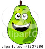 Clipart Of A Happy Green Pear Royalty Free Vector Illustration