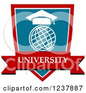Clipart Of A Blue And Red University Shield With A Globe And Mortar Board Royalty Free Vector Illustration by Vector Tradition SM