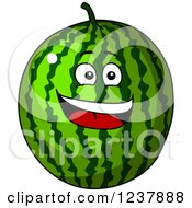 Clipart Of A Smiling Watermelon Royalty Free Vector Illustration