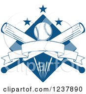 Clipart Of A Blue Diamond With A Baseball Crossed Bats Banners And Stars Royalty Free Vector Illustration