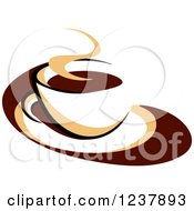 Clipart Of A Brown Cafe Coffee Cup With Steam 49 Royalty Free Vector Illustration