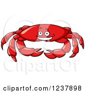 Clipart Of A Happy Red Crab Royalty Free Vector Illustration